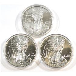 US Mint: 2012 & 2013 American Eagle 1 oz. .999 Fine Silver Coins (Toned). 3pcs