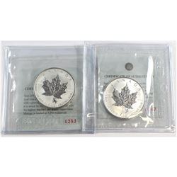 RCM Issue: Pair of 2004 Canada $5 Virgo & Capricorn Privy 1oz Silver Maple Leafs (TAX Exempt) .9999