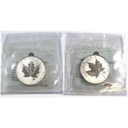 RCM Issue: Pair of 2004 Canada $5 Aries & Leo Privy 1oz Silver Maple Leafs (TAX Exempt) .9999 Pure S