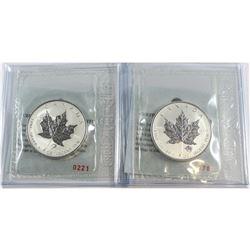 RCM Issue: Pair of 2004 Canada $5 Taurus & Libra Privy 1oz Silver Maple Leafs (TAX Exempt) .9999 Pur