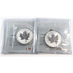 RCM Issue: Pair of 2004 Canada $5 Sagittarius & Gemini Privy 1oz Silver Maple Leafs (TAX Exempt) .99