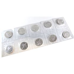 RCM Issue: 1989 Canada Strip of 10x 1oz. $5 .9999 Fine Silver Maple Leafs Sealed in Original Pliofil