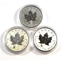 RCM Issue: 2014 Horse, 2015 Sheep & 2016 Year of the Monkey Privy Mark 1oz .9999 Fine Silver Maple L