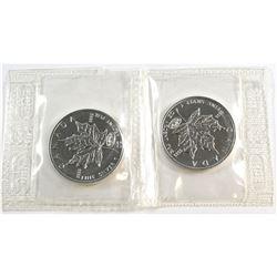 RCM Issue: 2x 2000 Fireworks Privy Mark 1oz .9999 Fine $5 Silver Maple Leafs Sealed in original Plio