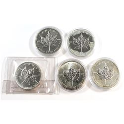 RCM Issue: 1988,1989,2011 and 2x 2012 Canada 1oz .9999 Fine Silver Maple Leafs (toned/milk spots) -