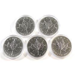 RCM Issue: 5x 2013 Canada 1oz .999 Fine Silver Maple Leafs (toned/milk spots) - Tax Exempt