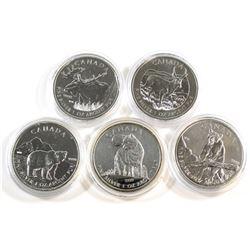RCM Issue: 5x 2011 & 2012 Canada Wildlife Series 1oz .9999 Fine Silver Maple Leafs (Tax Exempt). Lot