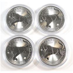 RCM Issue: 4x 2016 Canada $5 Predator Series - Cougar 1oz. .999 Fine Silver Coin (TAX Exempt) 4pcs