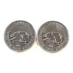 RCM Issue: 2x 2013 Canada $8 1.5oz Polar Bear .9999 Fine Silver Coins. 2pcs (TAX Exempt). Coins are