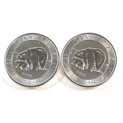 RCM Issue: 2x 2015 Canada $8 1.5oz Polar Bear and Cub .9999 Fine Silver Coins. 2pcs (TAX Exempt). Co