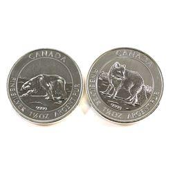 RCM Issue: 2013 Polar Bear & 2014 Arctic Fox Canada $8 1.5oz Fine Silver Coins. 2pcs (TAX Exempt). C