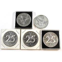RCM Issue: 5x 2013-2015 Canada $5 Commemorative Silver Maple Leafs: 3x 2013 25th Anniversary, 2014 P