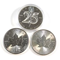 RCM Issue: 2013 25th Anniversary, 2015 & 2016 Canada 1oz .9999 Fine Silver Maple Leafs. Coins are to