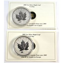 RCM Issue: Pair of 2005 Canada VE Days & VJ Day Privy Mark Silver Maple Leafs. Coins come encapsulat