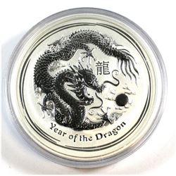 Perth Mint: 2012 Australia $8 Dragon 5 oz. .999 Fine Silver Coin (TAX Exempt) - scuffed capsule, coi