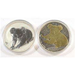 Perth Mint: 2x Australia $1 Koala 1oz. .999 Fine Silver Coins - 2009 Gold Plated & 2010 Silver (Tax