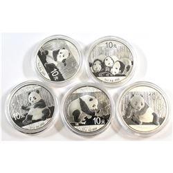 China; 2013, 2014, 2015, 2016 & 2017 China 1oz & 30 Gram Panda .999 Fine Silver Coins. Capsules are