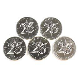 RCM Issue: 5x 2013 Canada 25th Anniversary 1oz .9999 Fine Silver Maple Leafs (Tax Exempt) - lightly