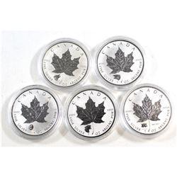 RCM Issue: 2016-2017 Canada Privy Mark 1oz .9999 Fine Silver Maple Leafs: 2016 Grizzly, 2016 Wolf, 2