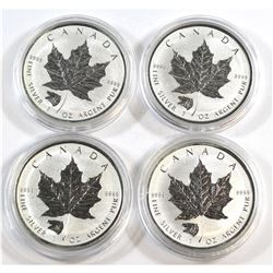 RCM Issue: 4x 2016 Canada Grizzly Privy $5 Silver Maple Leaf .9999 Fine (toned). No Tax