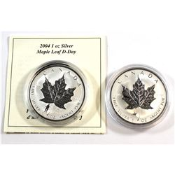 RCM Issue: 1998 RCMP & 2004 D-Day $5 Silver Maple Leafs (Tax Exempt). Both coins comes encapsulated.