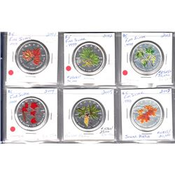 RCM Issue: 2001-2007 Canada $5 Coloured Silver Maple Leaf Coins in 2.5 x 2.5 Cardboard holders (Tax