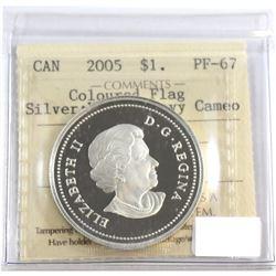 RCM Issue: 2005 Canada Red Enamel National Flag Proof Silver Dollar ICCS Certified PF-67: Ultra Heav