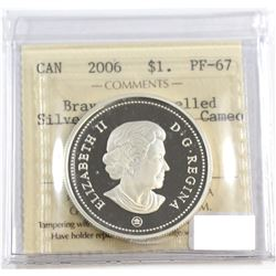 RCM Issue: 2006 Canada Medal Of Bravery Proof Enamel Silver Dollar ICCS Certified PF-67: Ultra Heavy