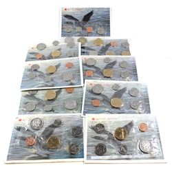 RCM Issue: 1990-1998 Canada Uncirculated Proof Like Sets. You will receive one of each date Issued f