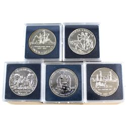 RCM Issue: 1987-1991 Canada Brilliant Uncirculated Silver Dollars (lightly toned). 5pcs
