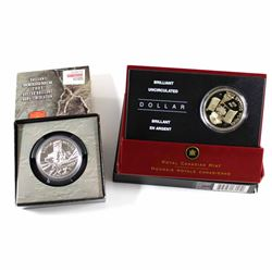 RCM Issue: 2003 & 2005 Canada Brilliant Uncirculated Silver Dollars. Coin capsules are scratched and