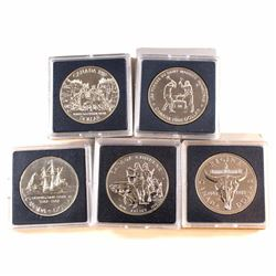 RCM Issue: 1982,1987,1988, 1989 & 1990 Canada Brilliant Uncirculated Silver Dollars. Please Note the