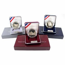 US Mint Issue: 3x USA Commemorative Proof Silver Dollars: 1991 50th Anniversary of Mount Rushmore, 1