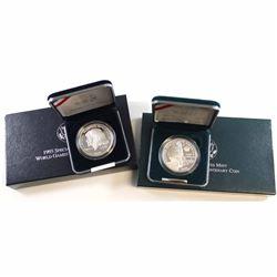 US Mint Issue: 2x USA Commemorative Proof Silver Dollars: 1992 Columbus Quincentenaries' & 1995 Spec