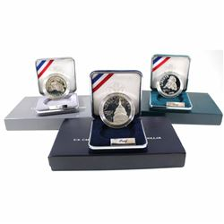 US Mint Issue: 3x USA Commemorative Proof Silver Dollars: 1991 50th Anniversary of Mount Rushmore (b