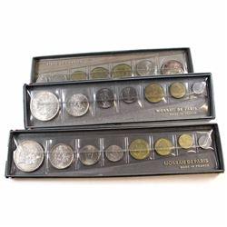 France: 1964,1965 & 1966 Monnaie De Paris Silver Mint Sets. Coins come with all original mint packag