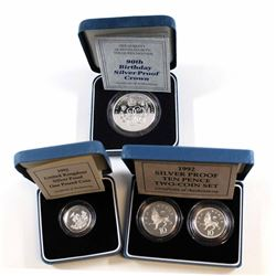 UK Mint: Set of 3x United Kingdom Sterling Proof Silver Coins. 1990 Her Majesty Queen Elizabeth 90th