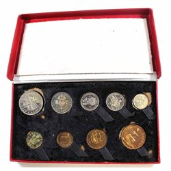 Royal Mint: 1950 Great Britain 9-coin Mint Set in original fitted box. Coins are naturally toned, th