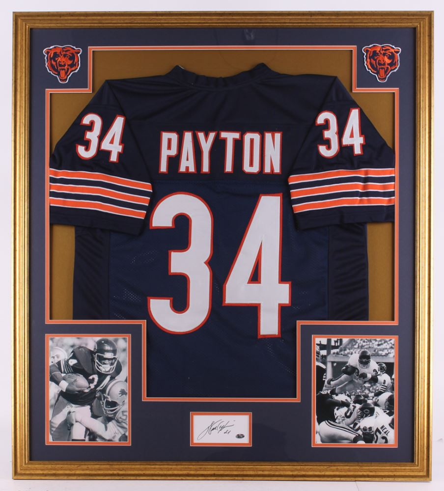 d0facaf5a43 Image 1 : Walter Payton Signed Bears 35x39 Custom Framed Cut Display (PSA)