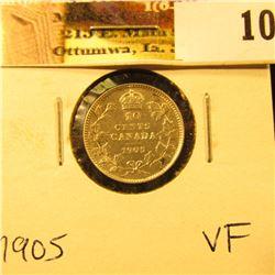 1905 Canada Silver Dime, VF.