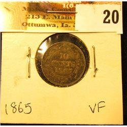 1865 Newfoundland Silver Dime, VF.