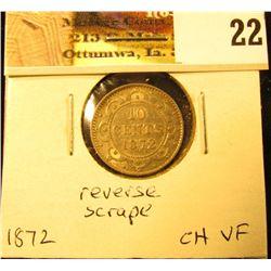 1872H Newfoundland Silver Dime, Choice VF, reverse scrape.