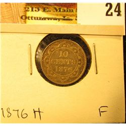 1876H Newfoundland Silver Dime, Fine