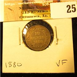 1880 Newfoundland Silver Dime, VF.