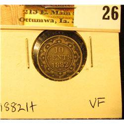 1882H Newfoundland Silver Dime, VF.