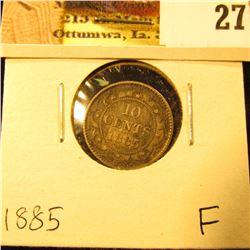 1885 Newfoundland Silver Dime, Fine