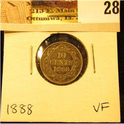 1888 Newfoundland Silver Dime, VF.