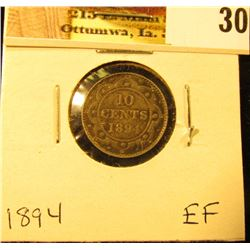 1894 Newfoundland Silver Dime, EF.