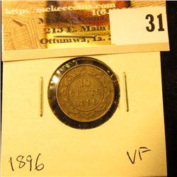 1896 Newfoundland Silver Dime, VF.
