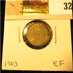 1903 Newfoundland Silver Dime, EF.
